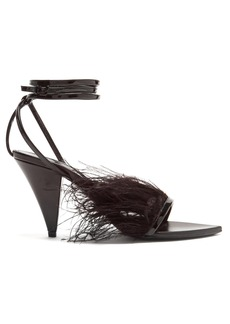 Saint Laurent Era ostrich feather-embellished leather sandals