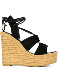 Yves Saint Laurent Saint Laurent Black 95 Espadrille Suede Wedges