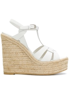 Yves Saint Laurent Saint Laurent Espadrille T-Strap Wedge sandals - White