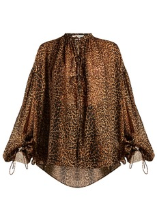 Saint Laurent Etamine tie-neck leopard-print blouse