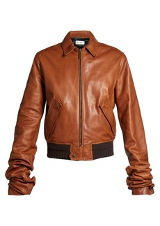 Yves Saint Laurent Saint Laurent Extra long-sleeves leather bomber jacket