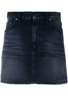 Yves Saint Laurent Saint Laurent faded denim mini skirt - Black