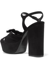 a471441ddcb Saint Laurent Farrah bow-embellished suede platform sandals