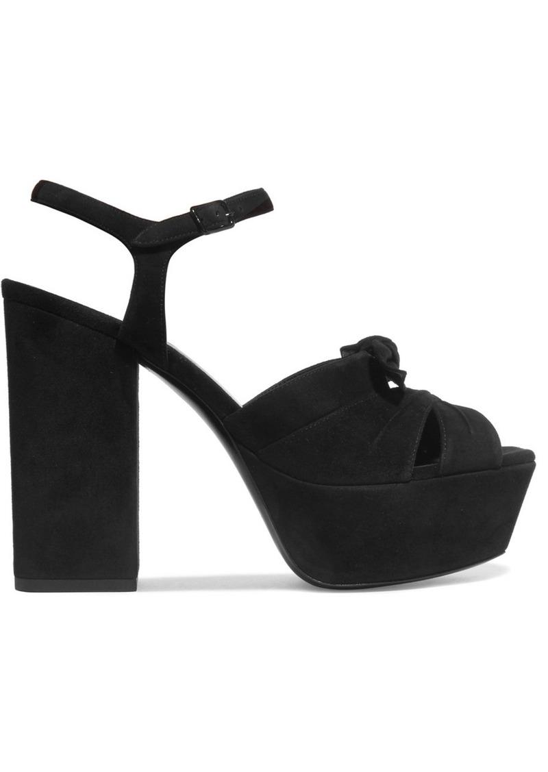 18ed84868006 Saint Laurent Farrah bow-embellished suede platform sandals