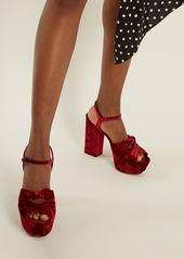 c2ba3563574 Saint Laurent Saint Laurent Farrah crossover velvet platform sandals ...