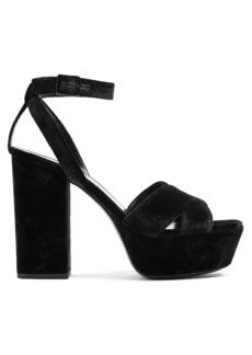 Yves Saint Laurent Saint Laurent Farrah crossover velvet platform sandals