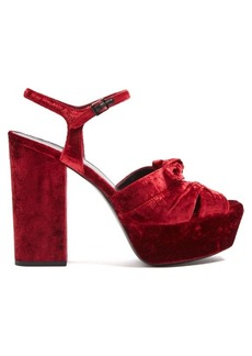 Saint Laurent Farrah crossover velvet platform sandals