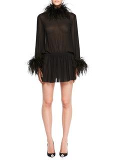 Yves Saint Laurent Saint Laurent Feather-Trim Cinched Chiffon Mini Dress
