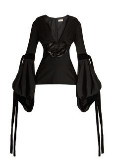 Yves Saint Laurent Saint Laurent Floral-embellished balloon-sleeved blouse