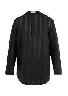 Yves Saint Laurent Saint Laurent Floral-embroidered sheer cotton-blend shirt