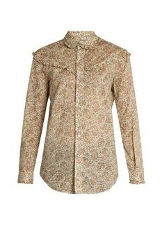 Saint Laurent Floral-print ruffled cotton shirt