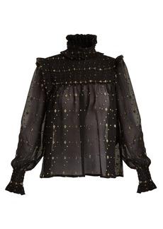 Yves Saint Laurent Saint Laurent Frill-trimmed polka-dot fil coupé blouse