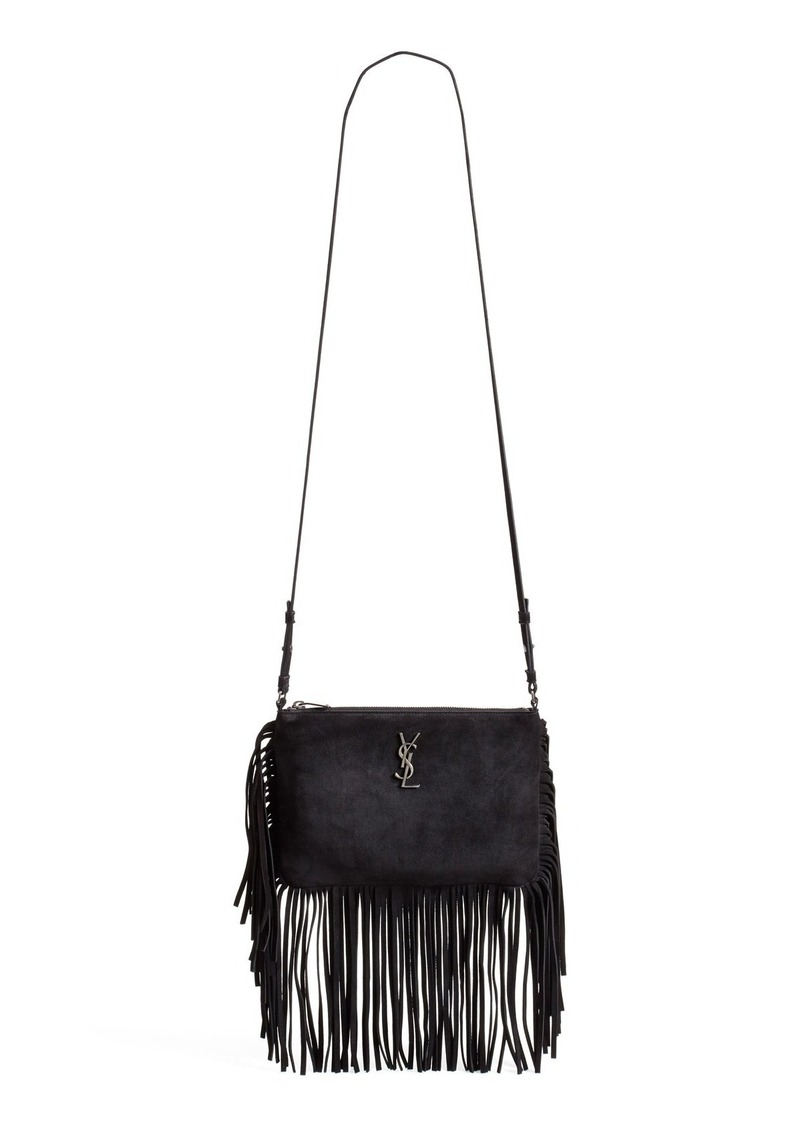 69fb7c0e00ab Saint Laurent Saint Laurent Fringe Suede Crossbody Bag