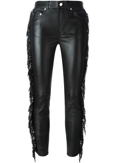 Saint Laurent fringed leather trousers - Black