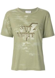 Yves Saint Laurent Saint Laurent logo patch T-shirt - Green