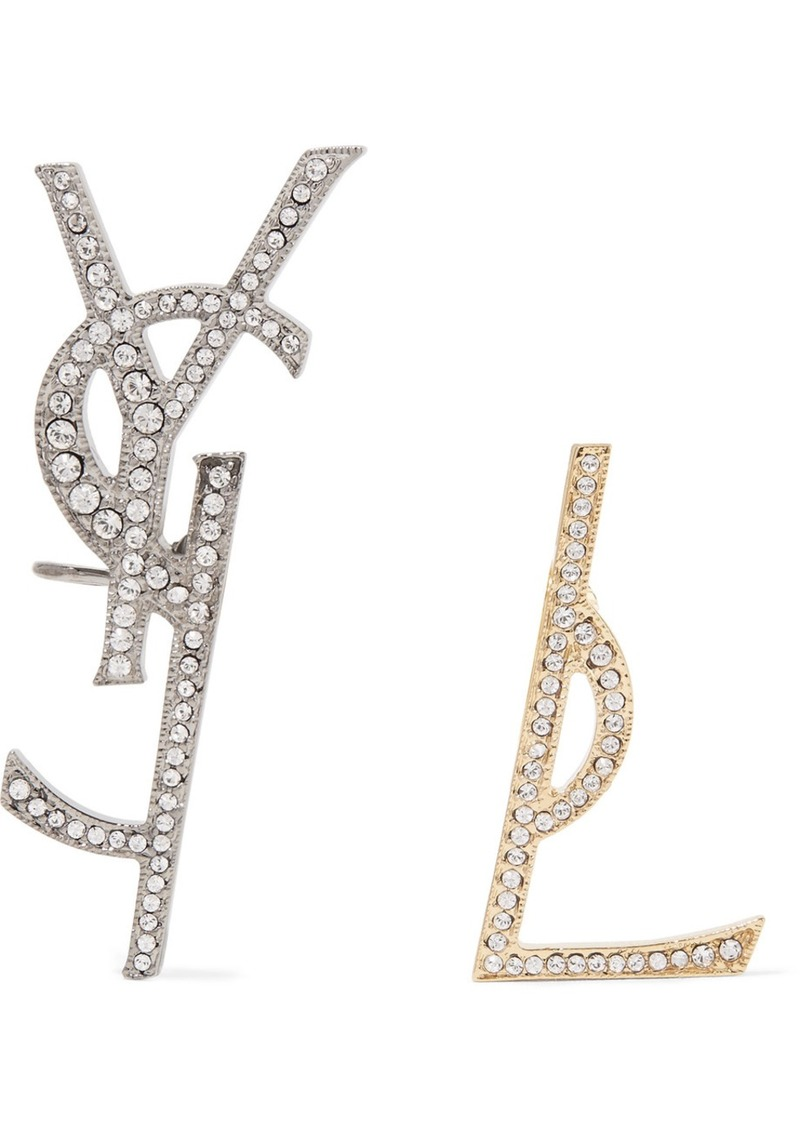 Saint Lau Gold And Gunmetal Tone Swarovski Crystal Clip Earrings