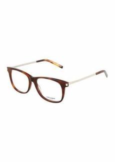 Yves Saint Laurent Saint Laurent Havana Square Acetate/Metal Optical Glasses