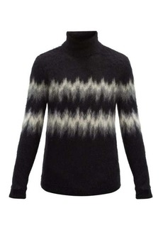 Yves Saint Laurent Saint Laurent High-neck zigzag-intarsia mohair-blend sweater