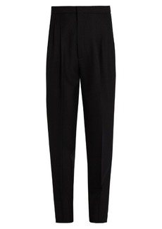 Saint Laurent High-waisted tapered-leg wool-blend trousers