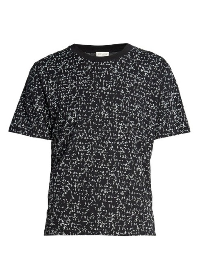 yves saint laurent saint laurent je t 39 aime print cotton t shirt t shirts shop it to me. Black Bedroom Furniture Sets. Home Design Ideas
