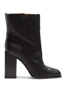 Saint Laurent Jodie square-toe leather ankle boots