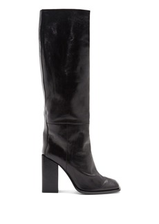 Yves Saint Laurent Saint Laurent Jodie square-toe leather over-the-knee boots