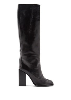 Saint Laurent Jodie square-toe leather over-the-knee boots