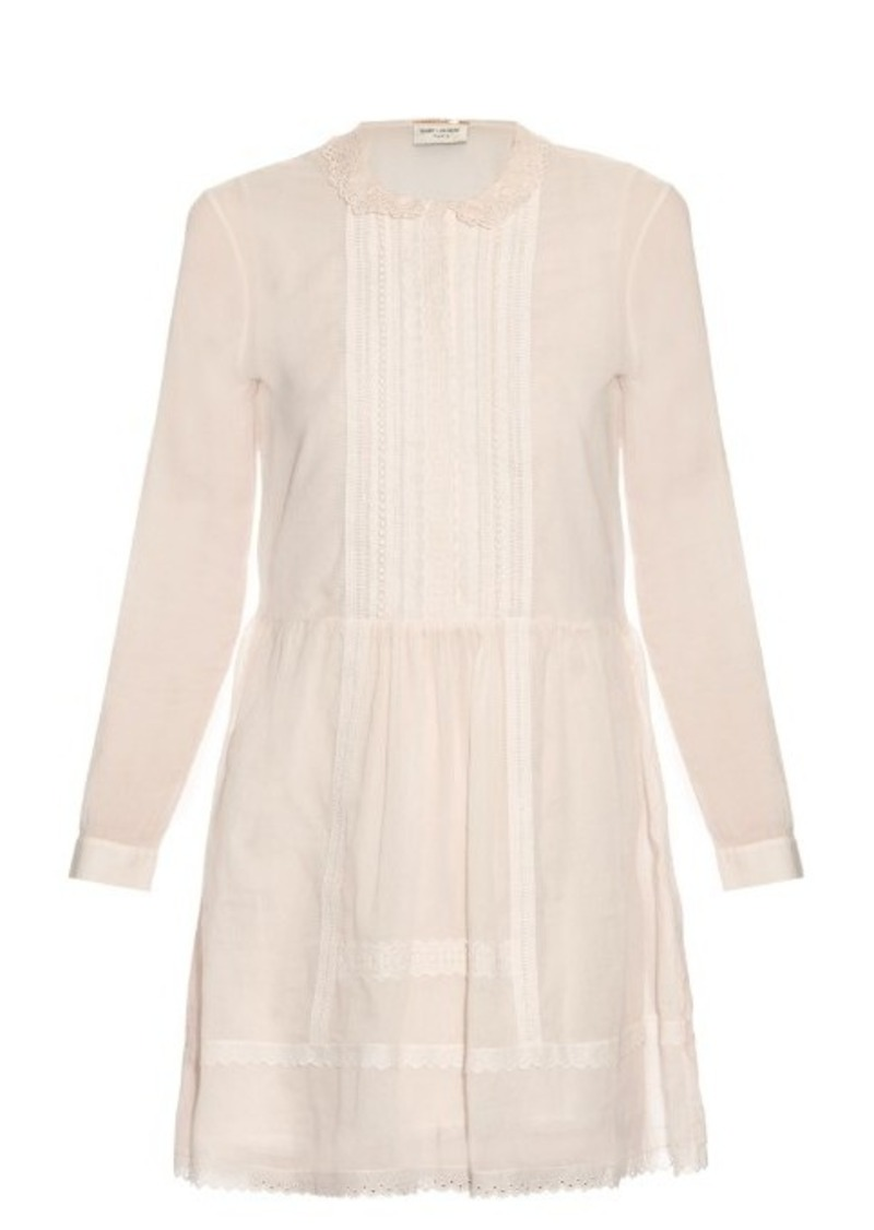 Yves Saint Laurent Saint Laurent Lace-panel pintuck pleated dress
