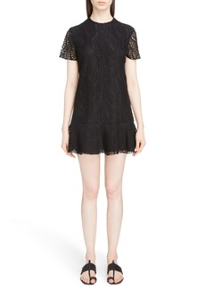 Yves Saint Laurent Saint Laurent Lace Ruffle Hem Dress