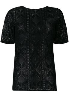 Yves Saint Laurent Saint Laurent lace short sleeve top - Black