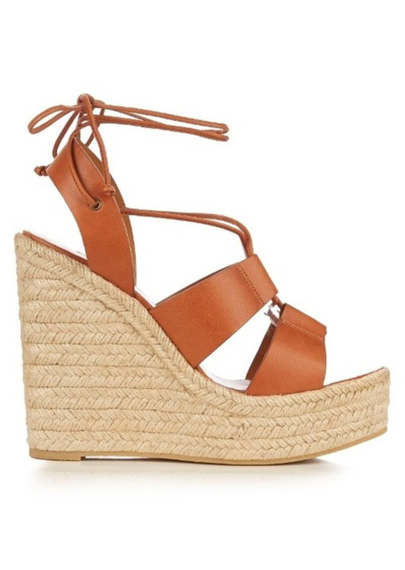 1b5b8390907 Saint Laurent Saint Laurent Lace-up espadrille leather wedge sandals ...
