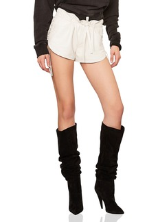 Yves Saint Laurent Saint Laurent Lace Up Sides Slouchy Leather Shorts