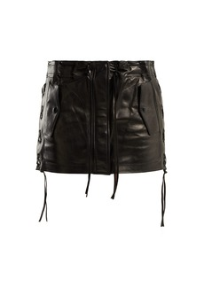 Saint Laurent Laced leather skirt