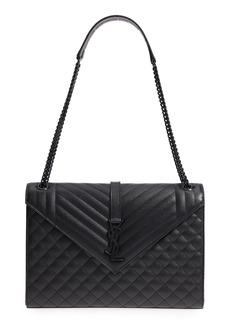 Saint Laurent Large Envelope Calfskin Shoulder Bag