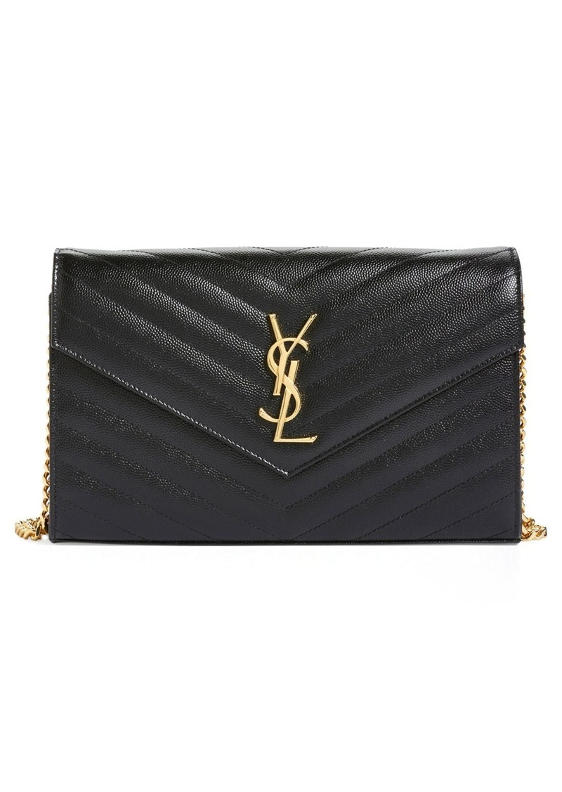 Saint Laurent Large Monogram Quilted Leather Wallet on a Chain