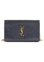 Saint Laurent Large Monogram Sparkle Calfskin Leather Wallet on a Chain