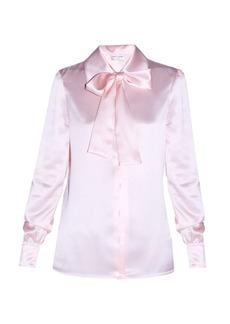 Saint Laurent Lavallière-neck satin blouse