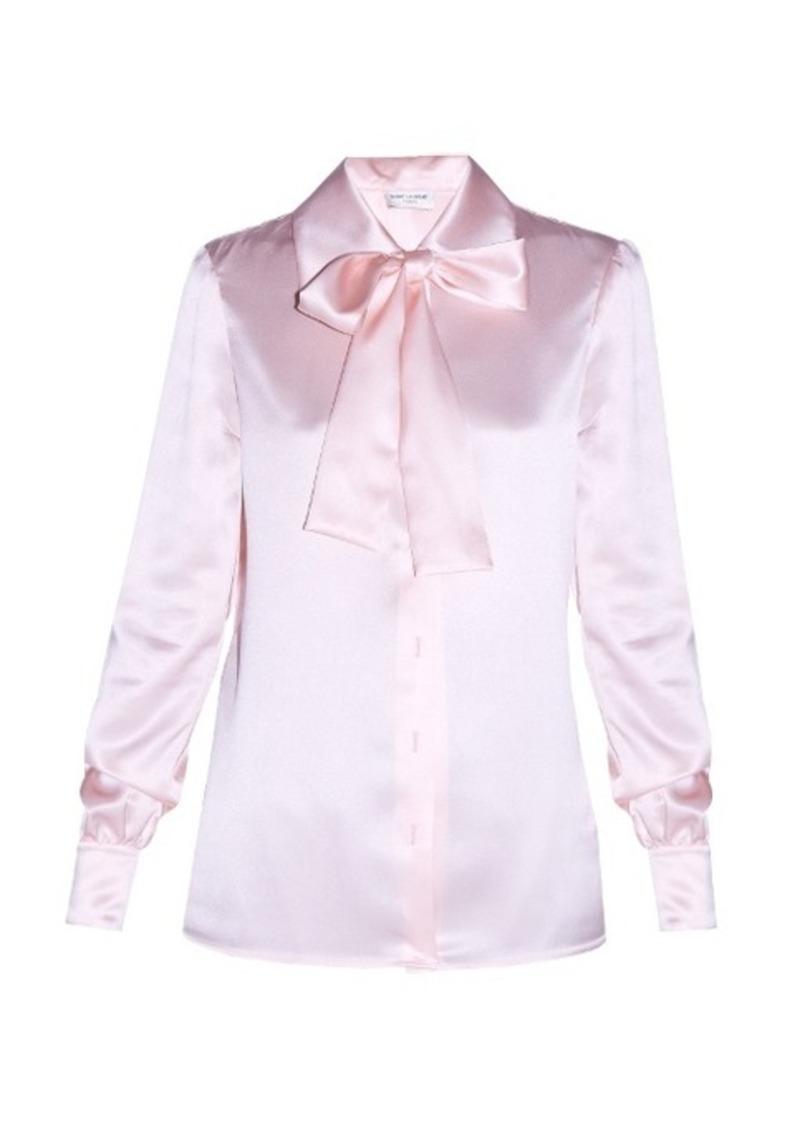 Yves Saint Laurent Saint Laurent Lavallière-neck satin blouse