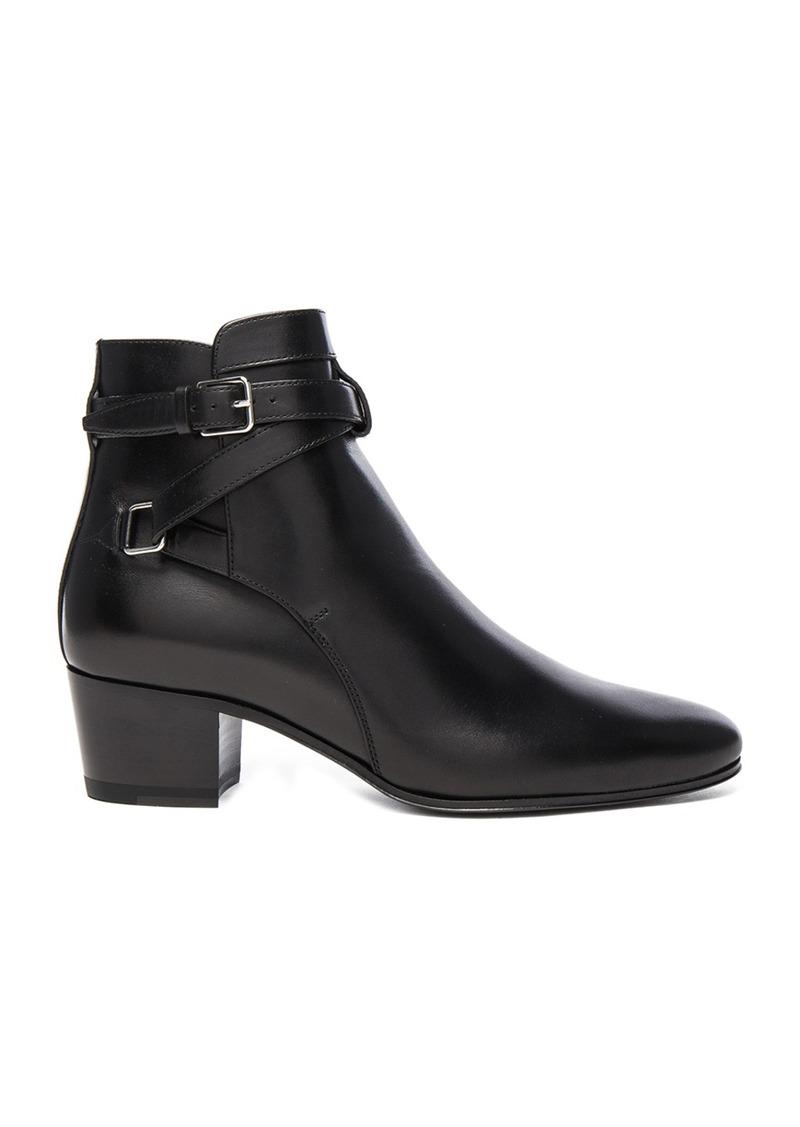 e80c37d325fa Saint Laurent Leather Blake Buckle Boots