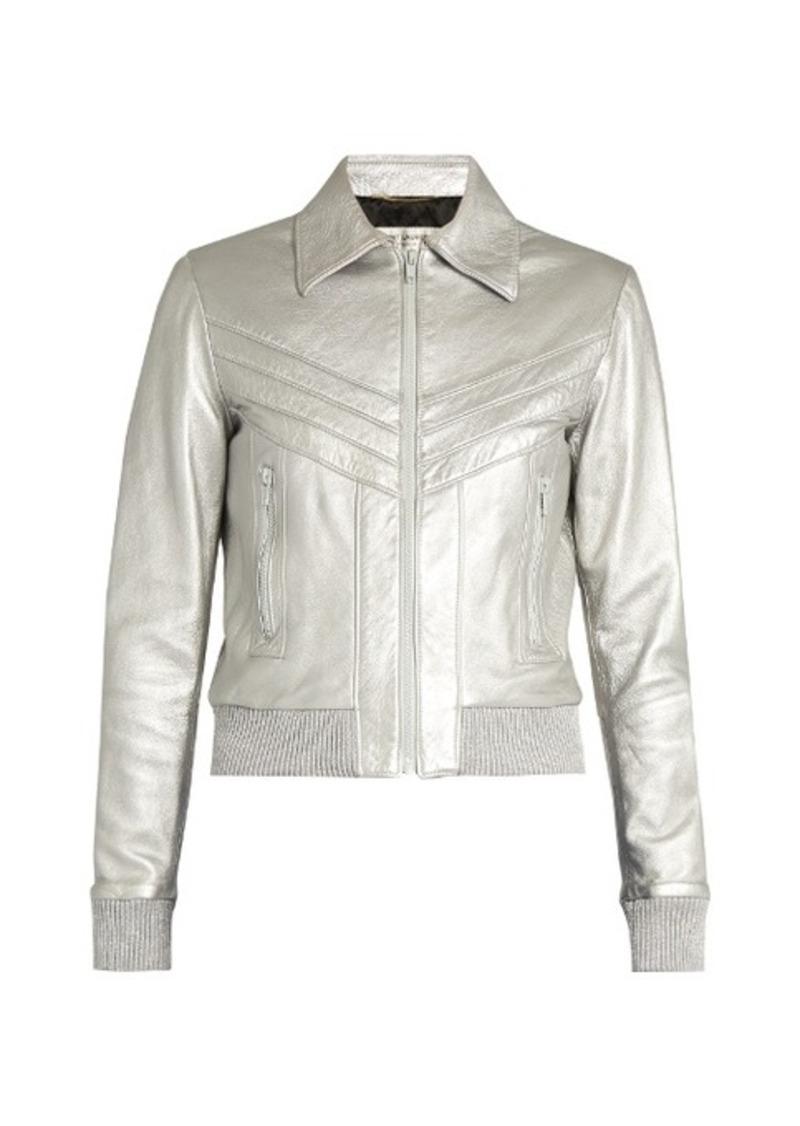 1fa73d655 Leather bomber jacket