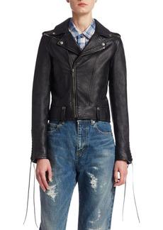 Yves Saint Laurent Leather Lace-Sleeve Moto Jacket