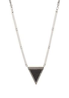 Yves Saint Laurent Saint Laurent Leather-pendant herringbone-chain necklace