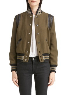 Yves Saint Laurent Saint Laurent Leather Trim Classic Teddy Jacket