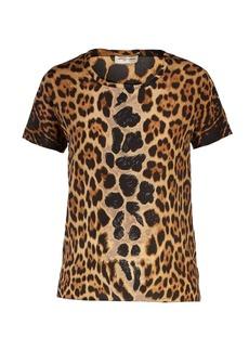 Yves Saint Laurent Saint Laurent Leopard-print crepe de Chine T-shirt