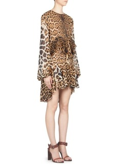 Saint Laurent Leopard Print Silk Ruffle Dress