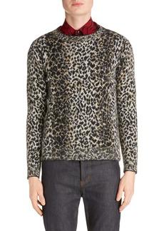 Yves Saint Laurent Saint Laurent Leopard Wool Blend Sweater