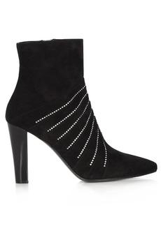 Saint Laurent Lily crystal-embellished suede boots
