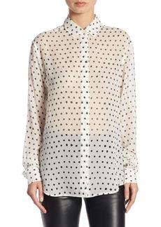 Yves Saint Laurent Saint Laurent Lipstick Dot Button-Down Blouse