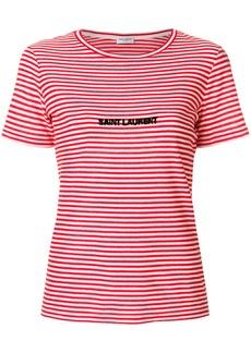 Yves Saint Laurent Saint Laurent logo embroidered striped T-shirt