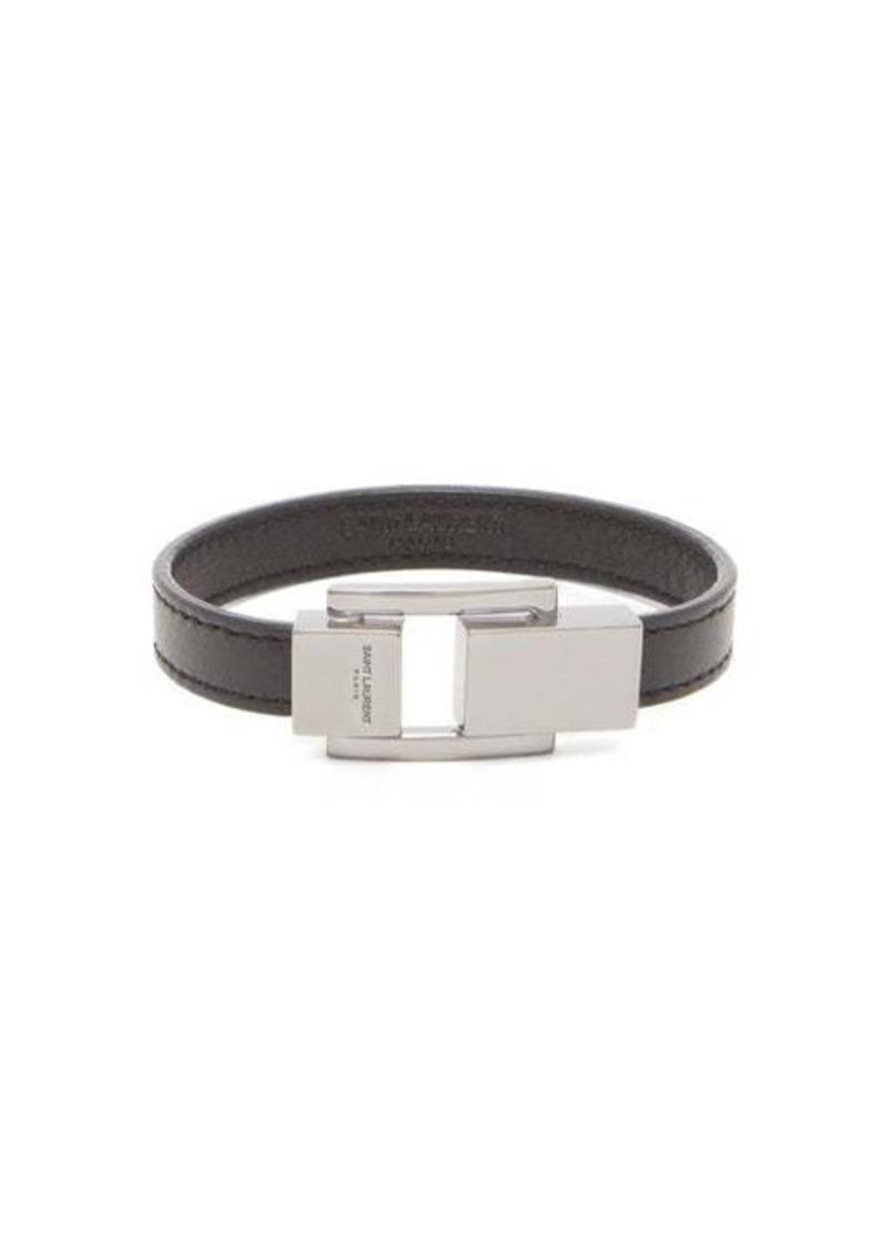 Yves Saint Laurent Saint Laurent Logo-engraved clasp leather bracelet